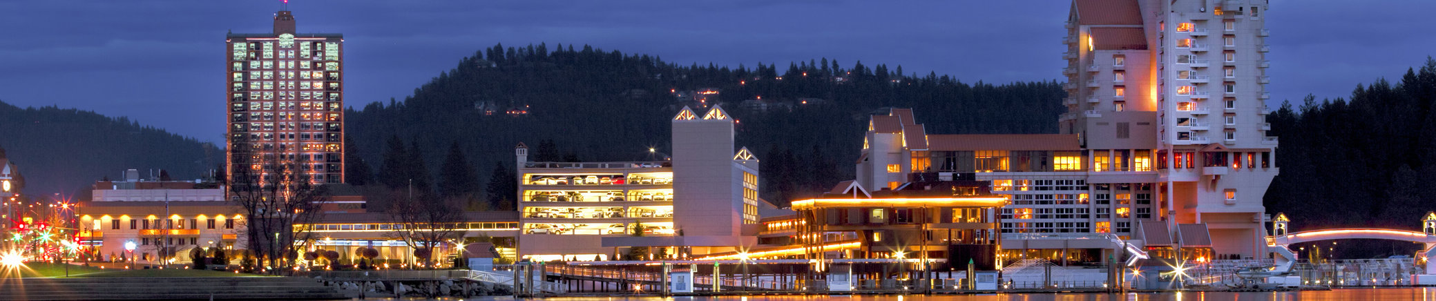 Downtown Coeur d'Alene, Idaho in evening
